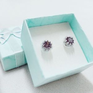 925 Sterling Silver with Purple Zircon Stones 8MM